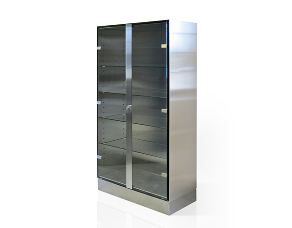 stainless steel cabinett with 2 glass doors